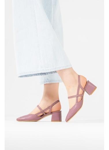 CZ London Hakiki Deri Sandalet Lila